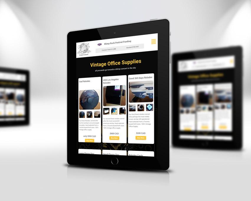 Portfolio website design - Blimp Rock Enterprises tablet view