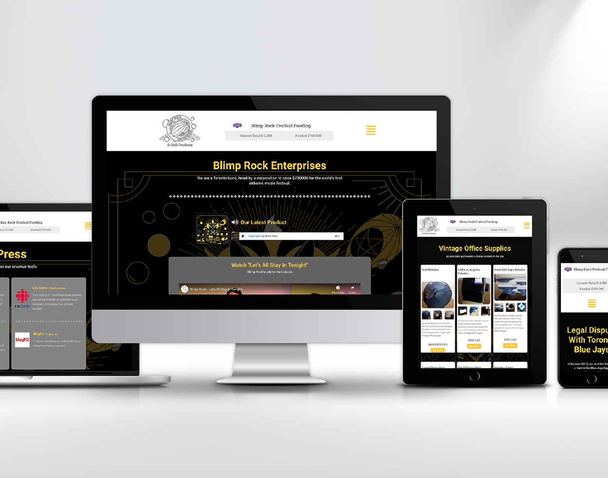 Portfolio website design - Blimp Rock Enterprises responsive design cover