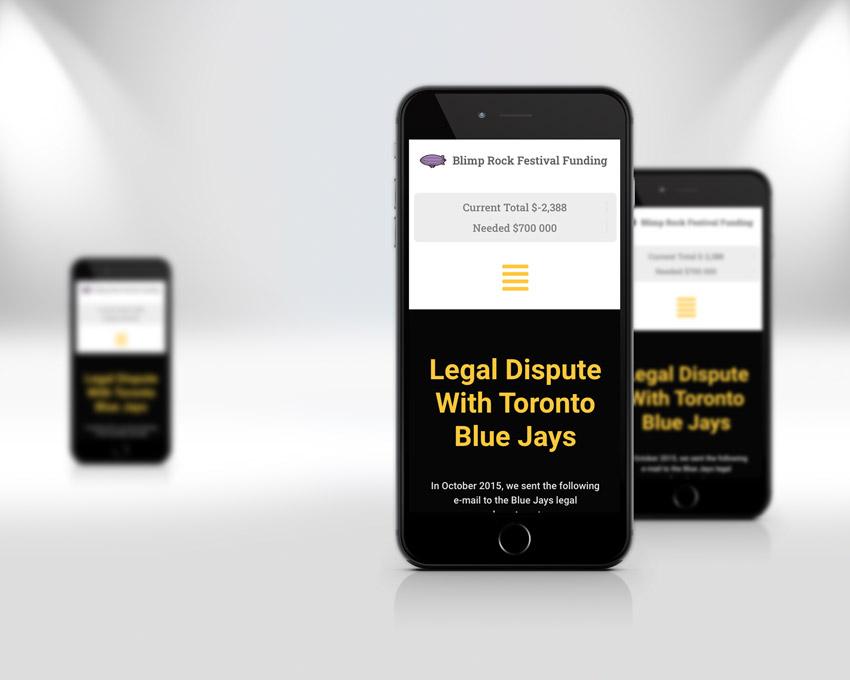 Portfolio website design - Blimp Rock Enterprises Guelph mobile view