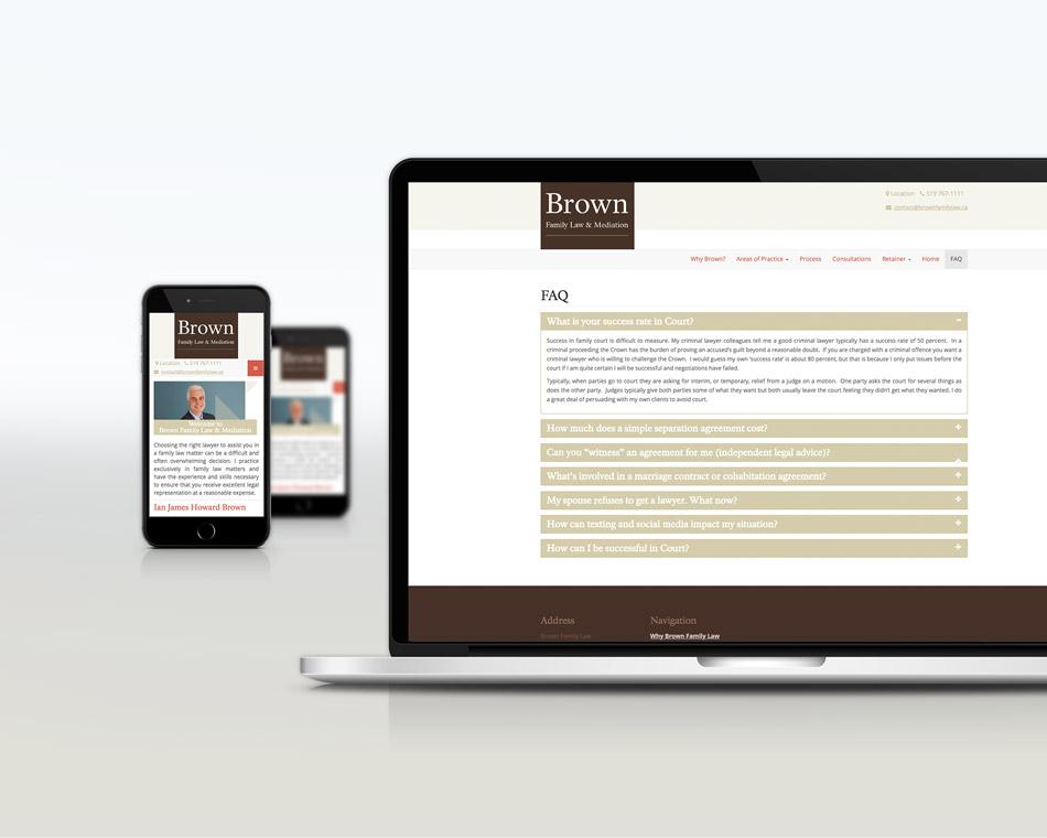 Brown Family Lawyer responsive design desktop Black bike media web design portfolio
