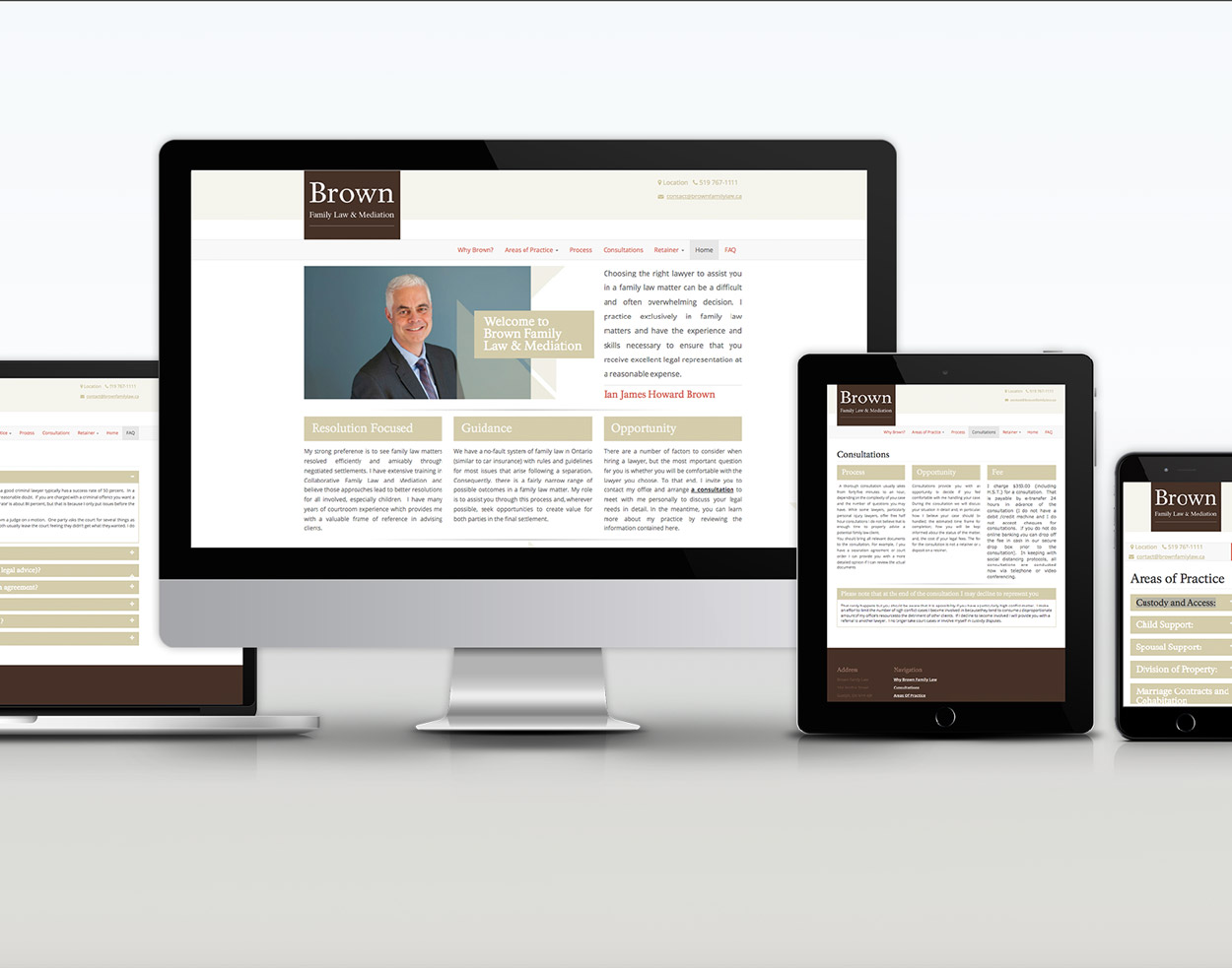 Brown Family Lawyer responsive design desktop Black bike media web design portfolio cover