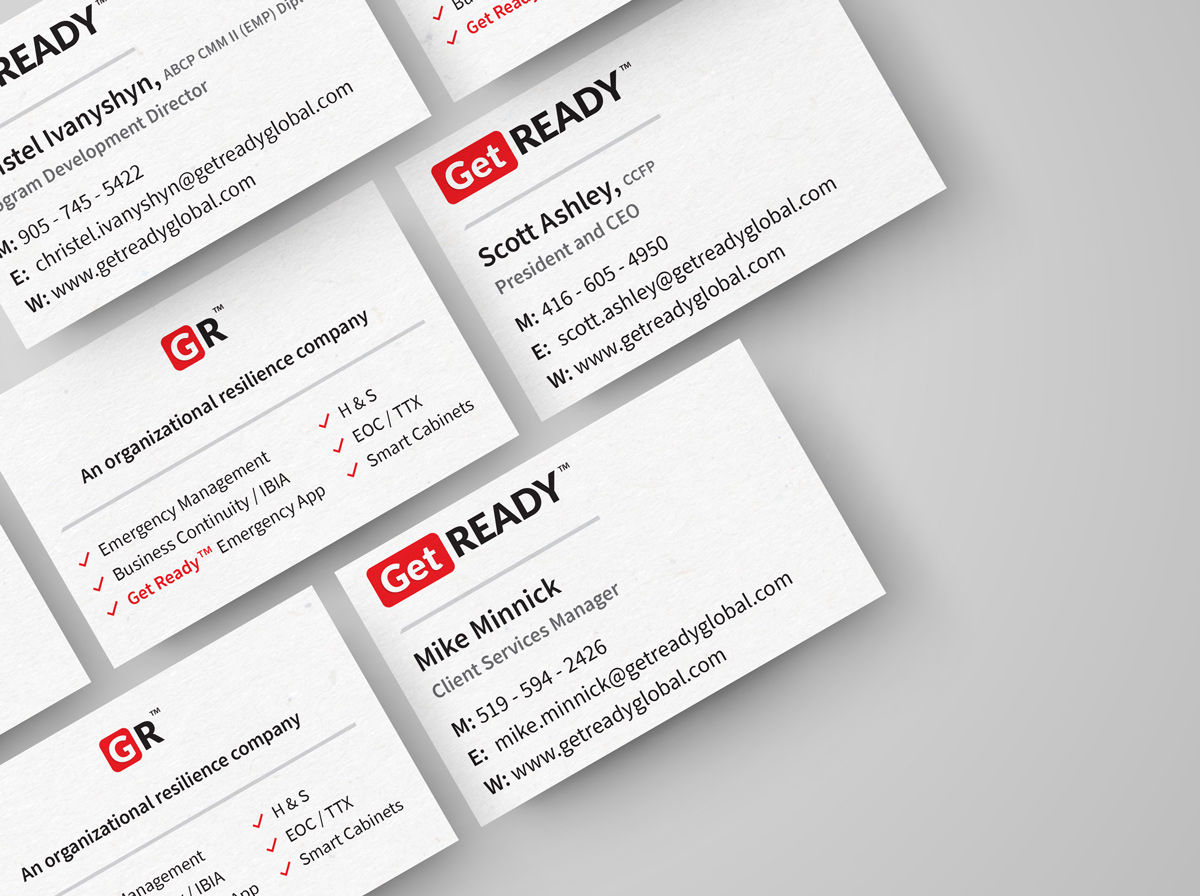 Business cards company branding Get Ready Inc - Graphic Design Portfolio