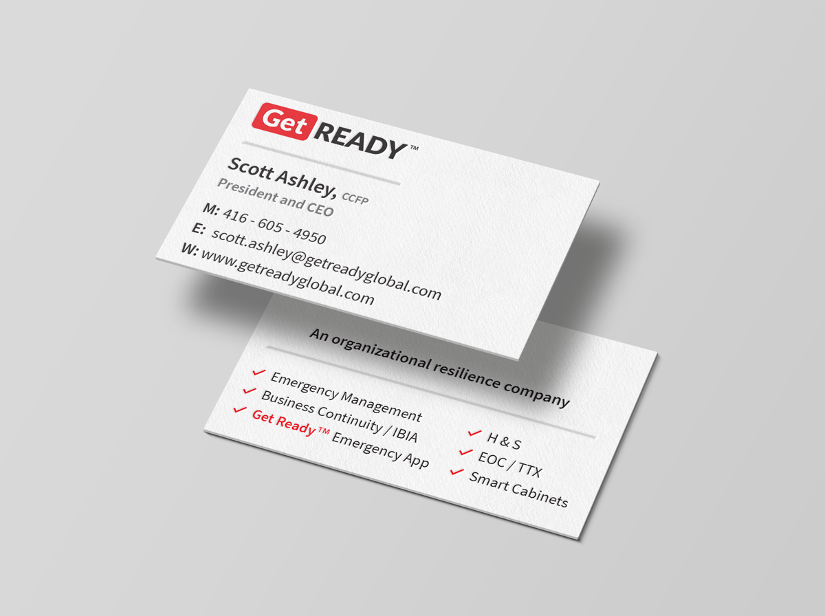 Stack of business cards floatingcompany branding Get Ready Inc - Graphic Design Portfolio