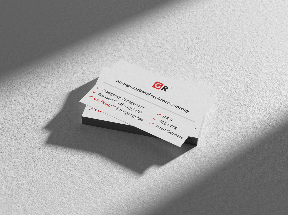 Stack of business cards company branding Get Ready Inc - Graphic Design Portfolio
