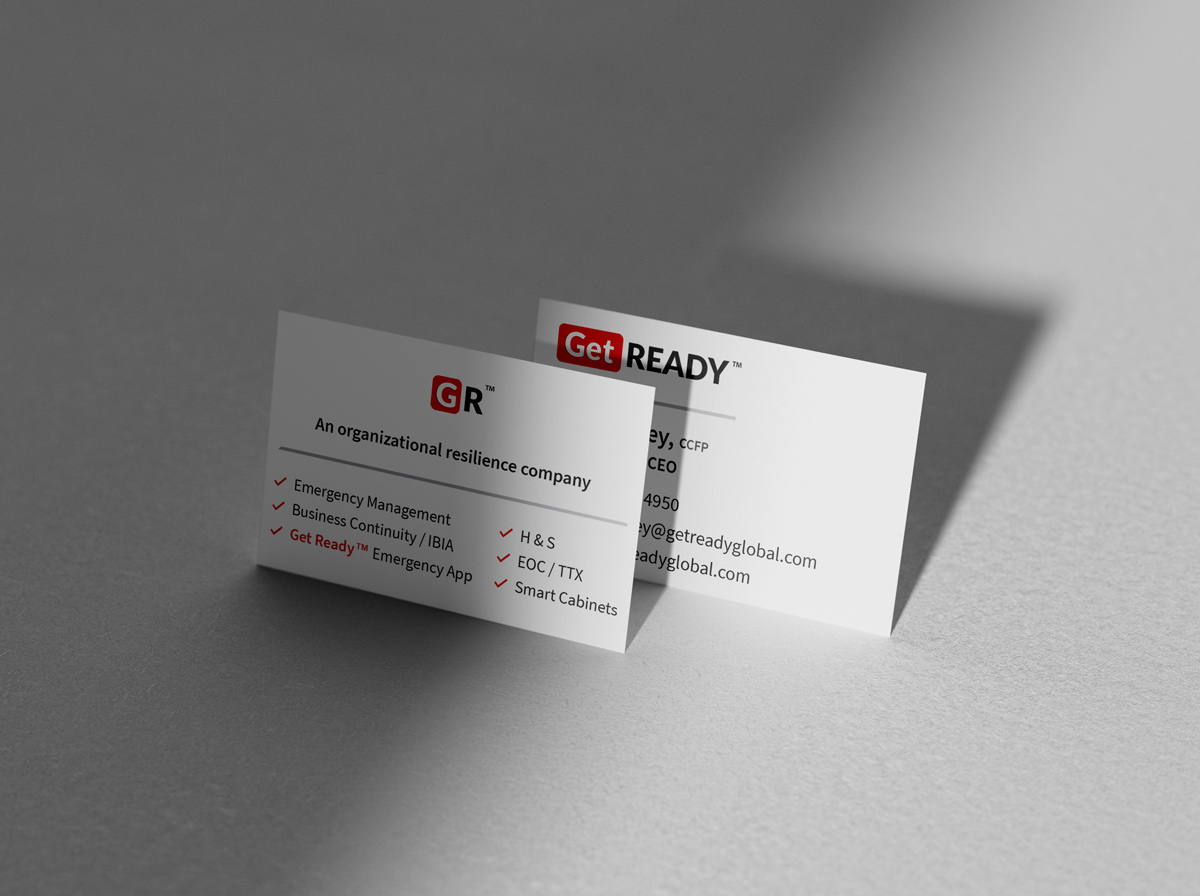 Standing display of business cards company branding Get Ready Inc - Graphic Design Portfolio