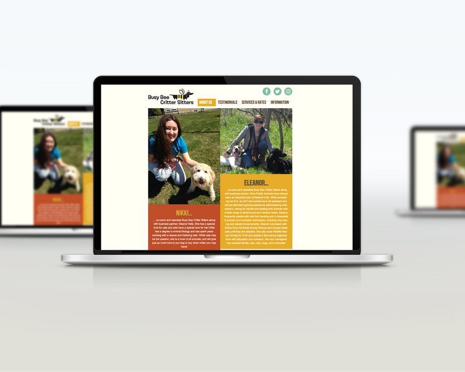 Busy Bee Critter Sitter portfolio website design guelph about company