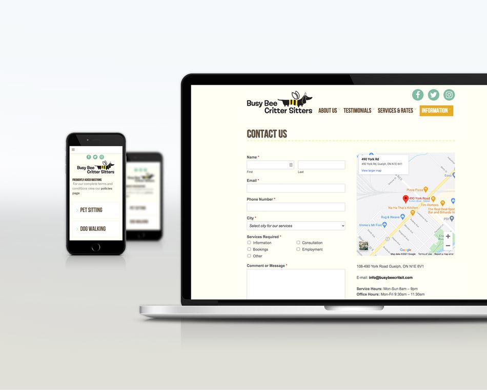Busy Bee Critter Sitter portfolio website design guelph contact info