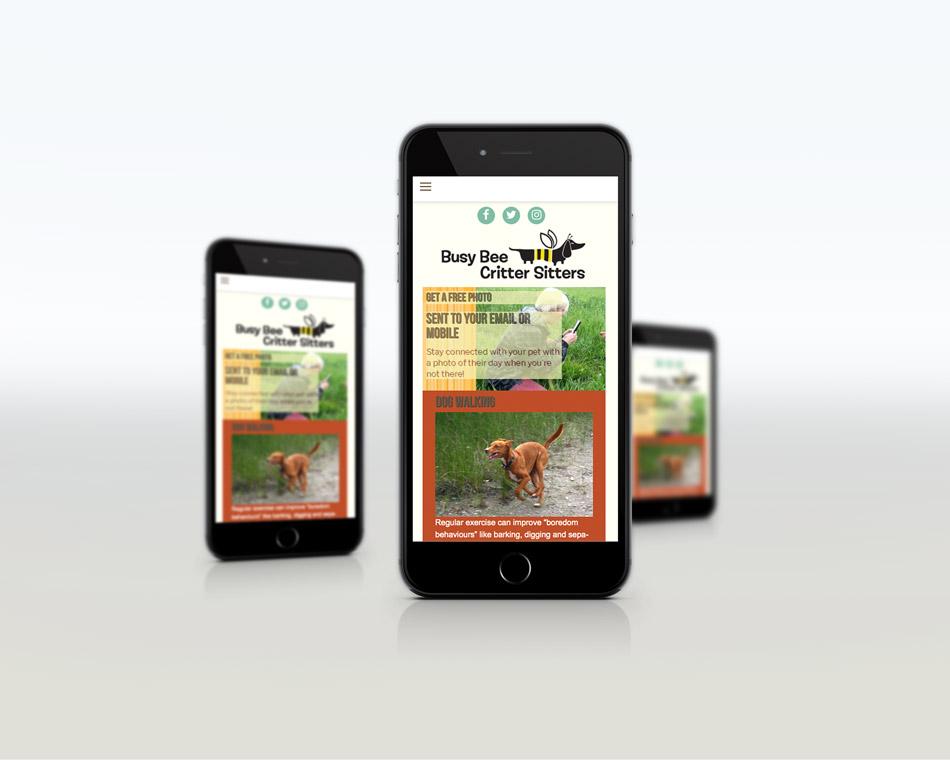 Busy Bee Critter Sitter portfolio website design guelph mobile design