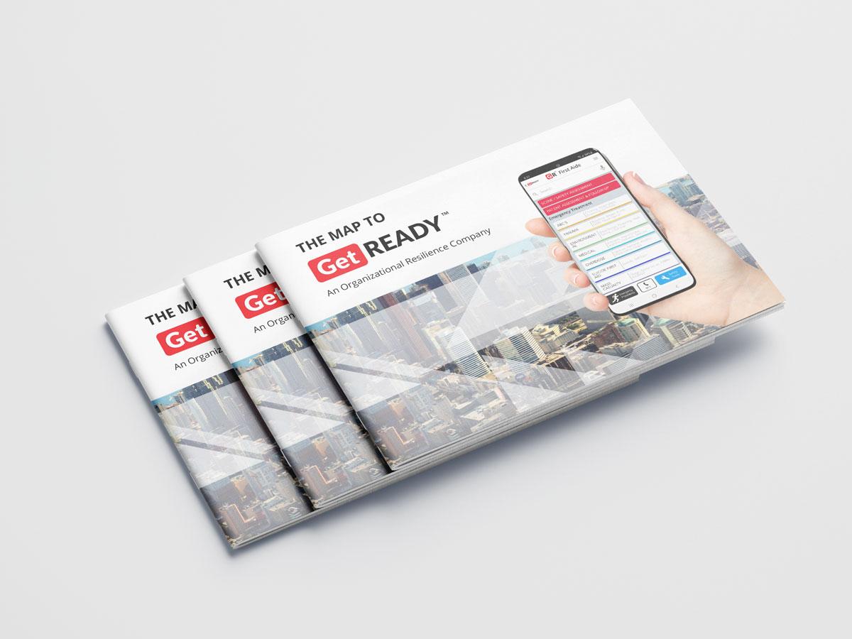 magazine and brochure design - portfolio Graphic Design - Get Ready Inc - cover frontside stack