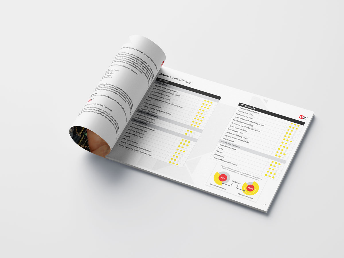 magazine and brochure design - portfolio Graphic Design - Get Ready Inc - inner pages rolled