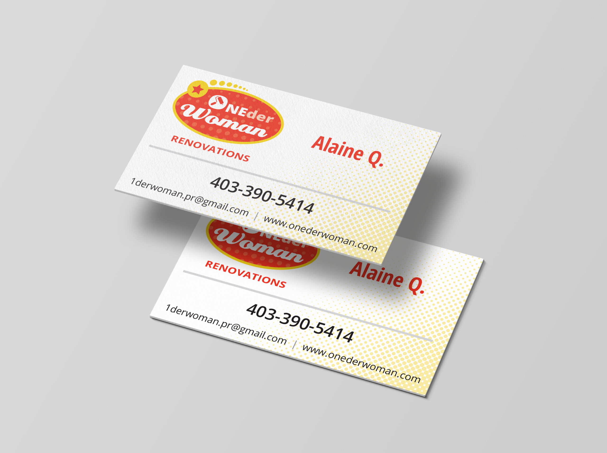 ONEderWoman Business Cards Portfolio Graphic Design Guelph Floating cards
